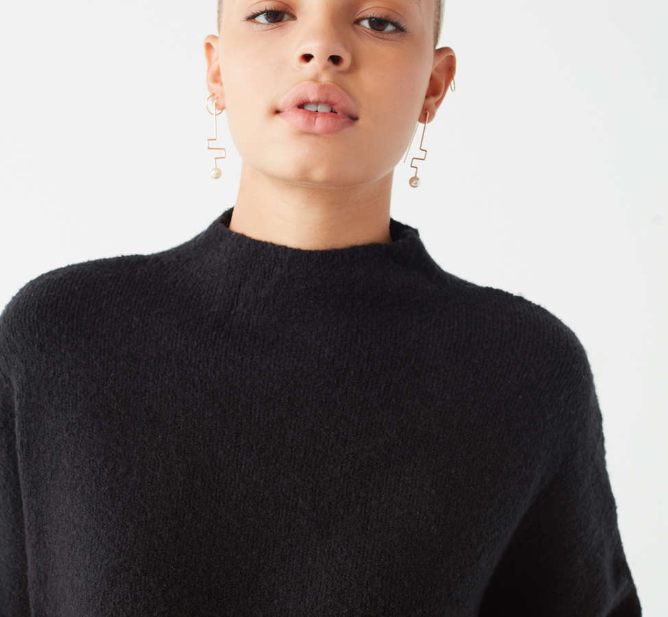 Slide View: 5: UO Benny Fuzzy Mock-Neck Sweater