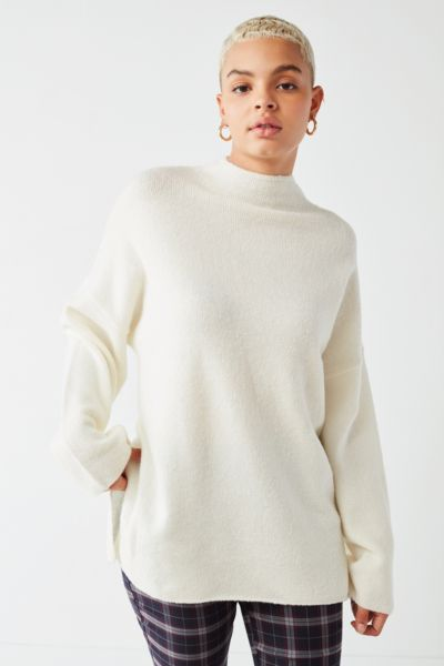 Uo Benny Fuzzy Mock Neck Sweater Urban Outfitters