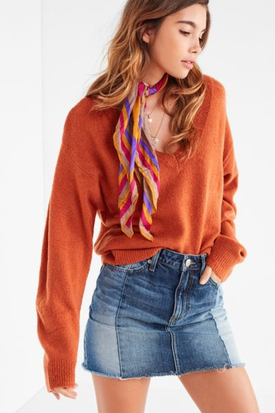 UO Caroline Cozy Batwing Sweater - Rust XS at Urban Outfitters