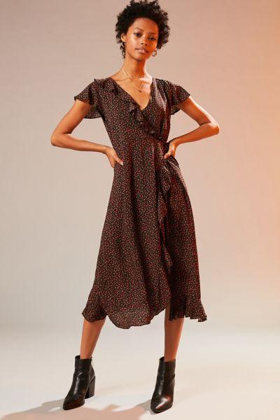 Kimchi Blue Ruffle Midi Wrap Dress - Black Multi XS at Urban Outfitters