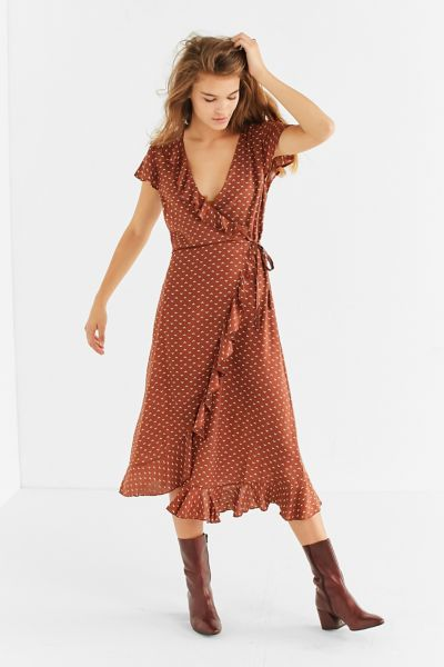 Kimchi Blue Ruffle Midi Wrap Dress - Brown XS at Urban Outfitters