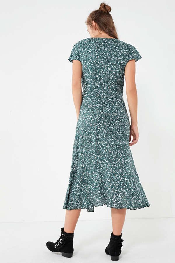 Kimchi Blue Ruffle Midi Wrap Dress