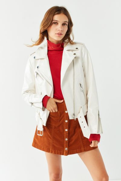 UO Patent Leather Moto Jacket - Cream XS at Urban Outfitters