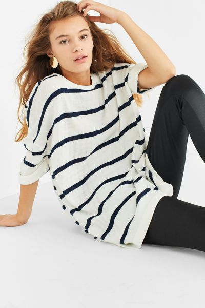 UO Oversized Striped Short Sleeve Sweater - Neutral Multi XS at Urban Outfitters