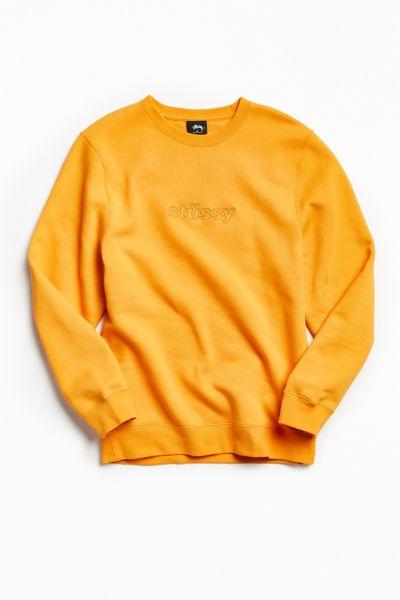 Stussy 3D Raised Applique Crew Neck Sweatshirt - Medium Orange S at Urban Outfitters