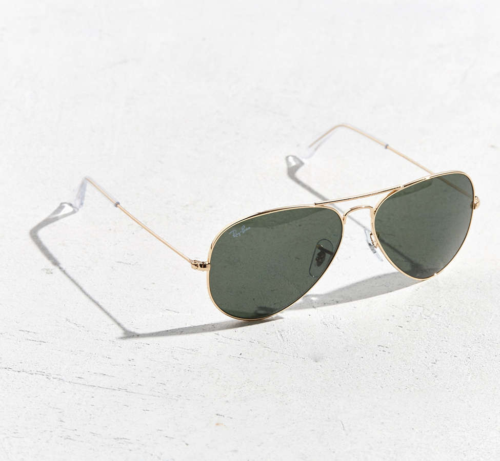 Slide View: 1: Ray-Ban Gold Aviator Sunglasses