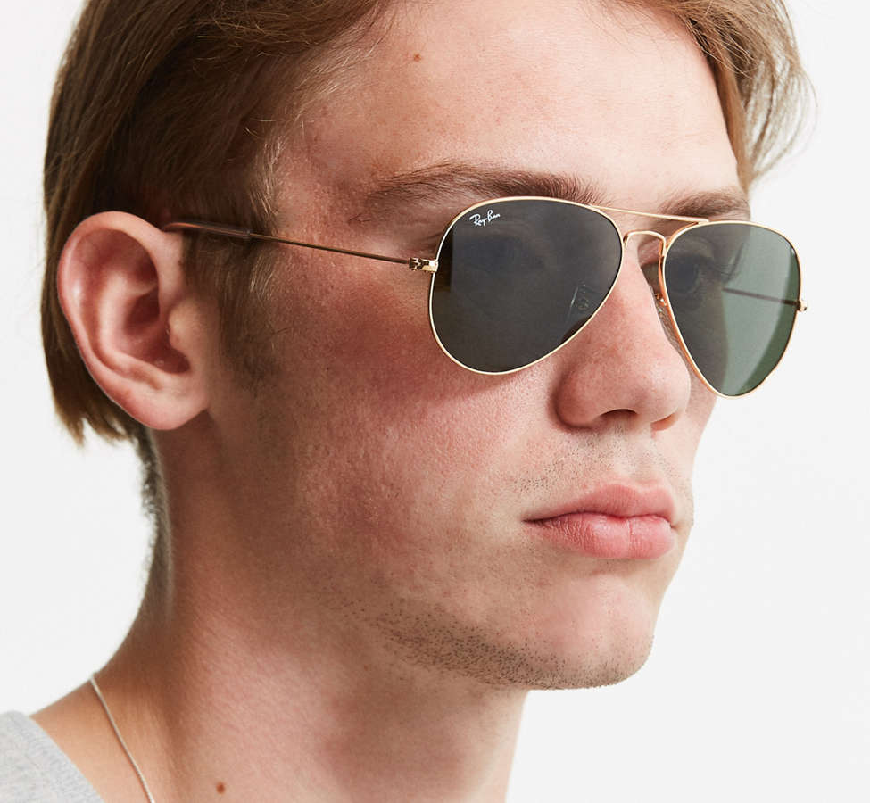 Slide View: 2: Ray-Ban Gold Aviator Sunglasses