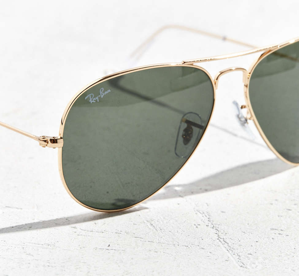 Slide View: 3: Ray-Ban Gold Aviator Sunglasses