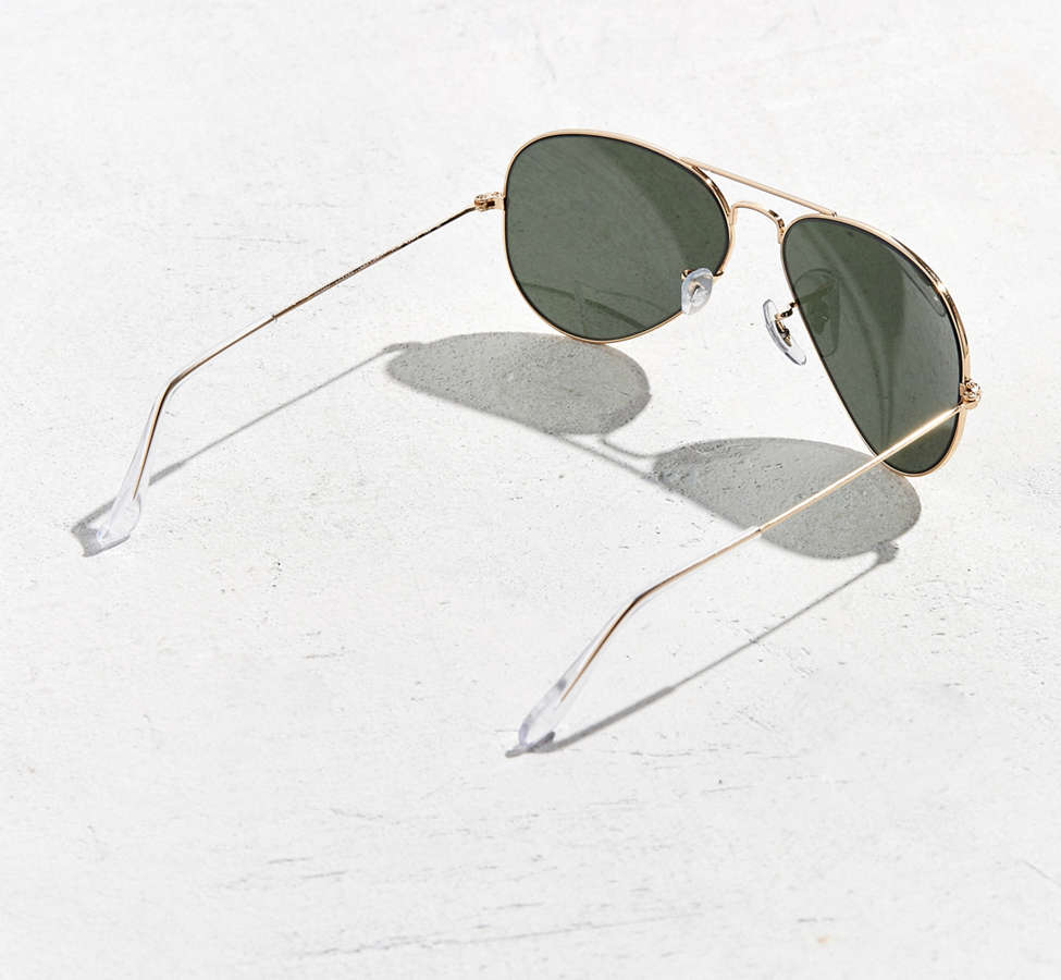 Slide View: 4: Ray-Ban Gold Aviator Sunglasses