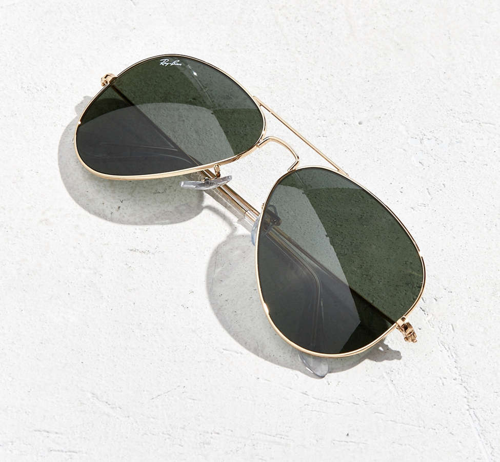 Slide View: 5: Ray-Ban Gold Aviator Sunglasses