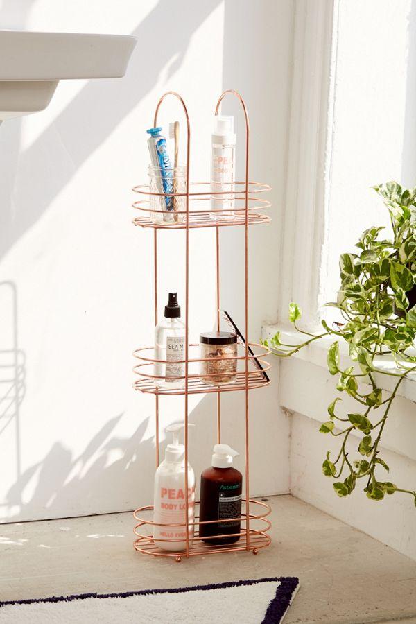 Rangement de salle de bain sur pied minimaliste en or rose for Rangement maison minimaliste