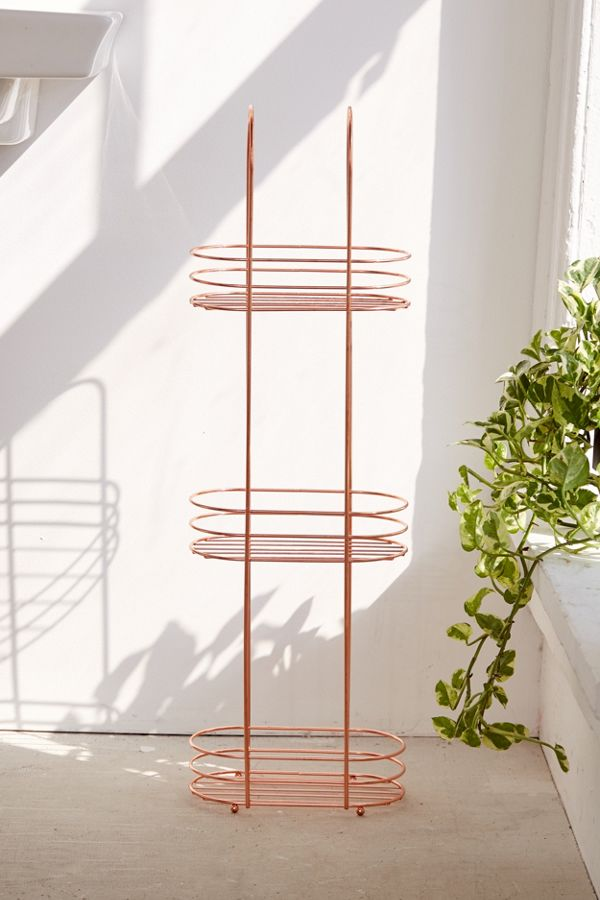 Minimal Rose Gold Standing Bathroom Storage