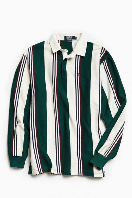 Vintage Polo By Ralph Lauren Multi Vertical Stripe Rugby Shirt