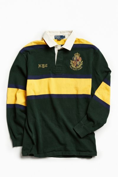 Vintage Polo By Ralph Lauren Green + Yellow Rugby Shirt