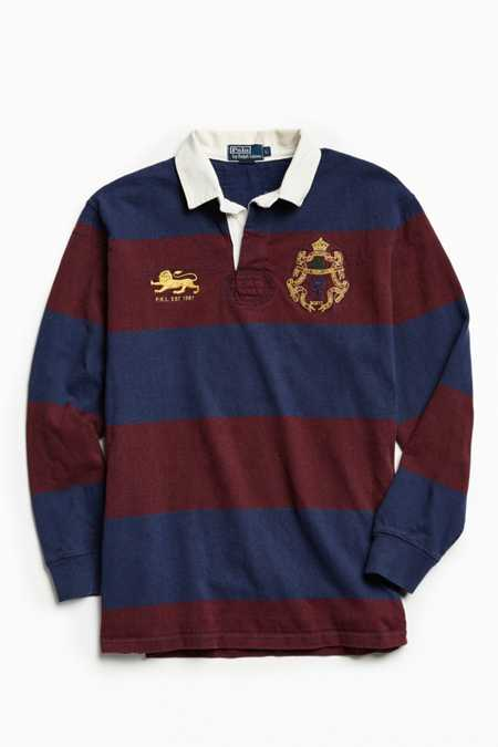 Vintage Polo By Ralph Lauren Burgundy + Navy Stripe Rugby Shirt