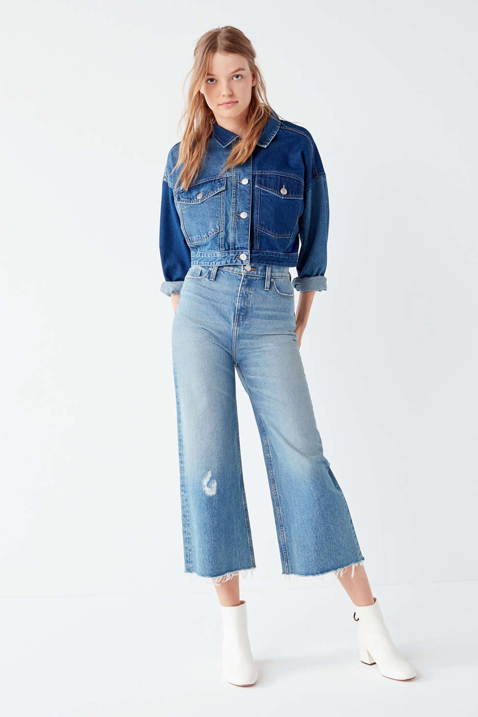 Bdg Cropped Denim Culotte Distressed Urban Outfitters