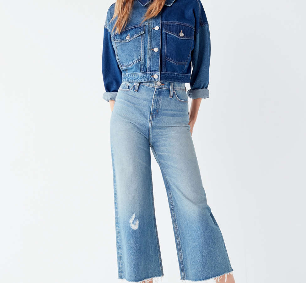 Slide View: 1: BDG Cropped Denim Culotte - Distressed
