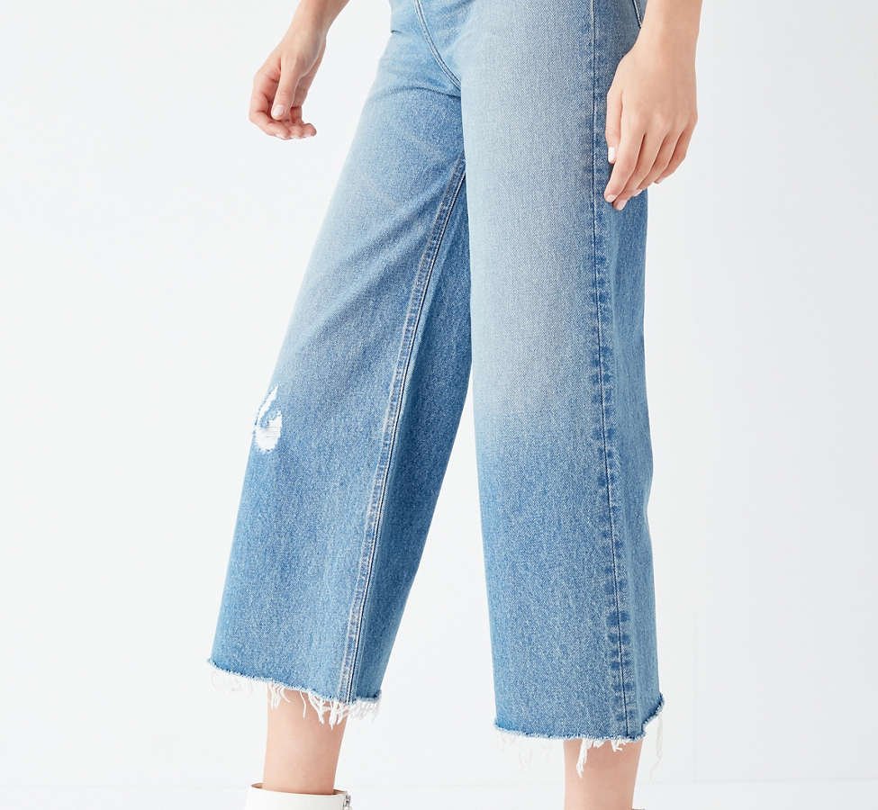 Slide View: 3: BDG Cropped Denim Culotte - Distressed