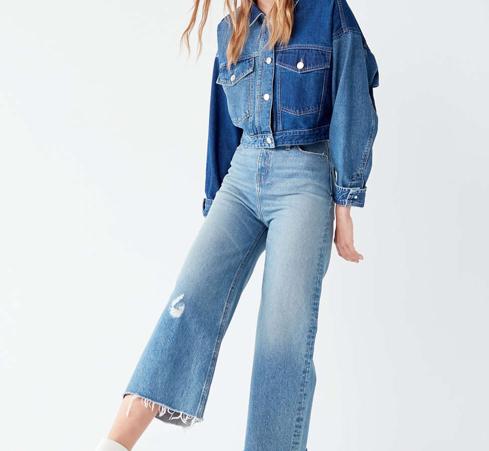Slide View: 6: BDG Cropped Denim Culotte - Distressed