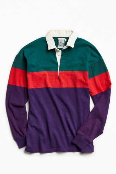 Vintage Green Red + Purple Colorblocked Rugby Shirt