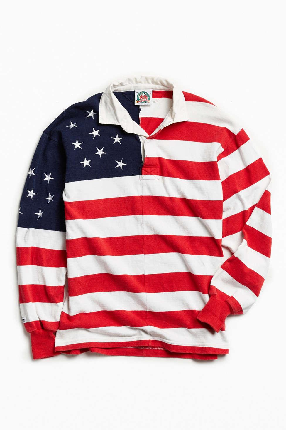 Slide View: 1: Vintage American Flag Rugby Shirt