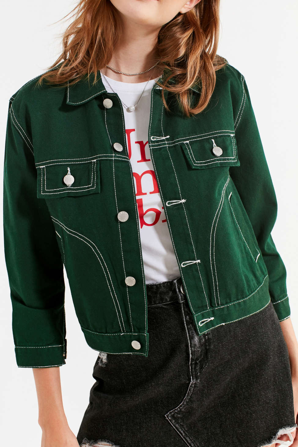 UNIF Woody Green Denim Jacket | Urban Outfitters Canada