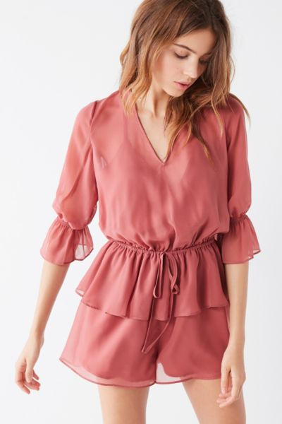 The Fifth Brushstrokes Tiered Ruffle Romper - Pink XS at Urban Outfitters