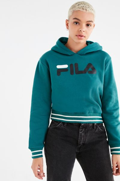 FILA Leah Cropped Hoodie - Green XS at Urban Outfitters