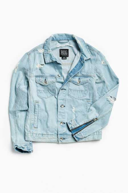 BDG Damaged Denim Moto Trucker Jacket