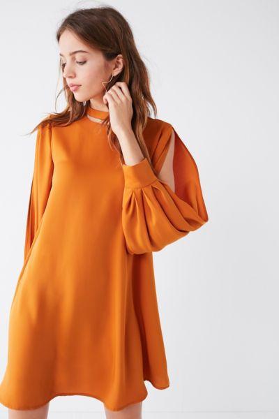 ELLIAT Demi Slit Shift Dress - Mustard XS at Urban Outfitters