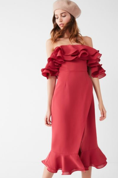 C/meo Collective Immerse Ruffle Midi Dress - Rose XS at Urban Outfitters