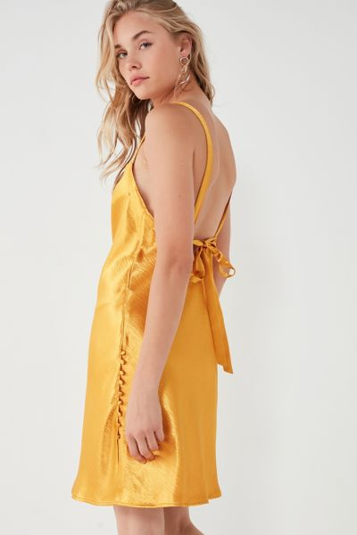UO Soulmate Satin Bias-Cut Tie-Back Dress - Orange XS at Urban Outfitters