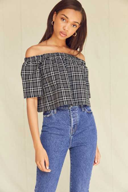 Urban Renewal Remade Plaid Off-The-Shoulder Top