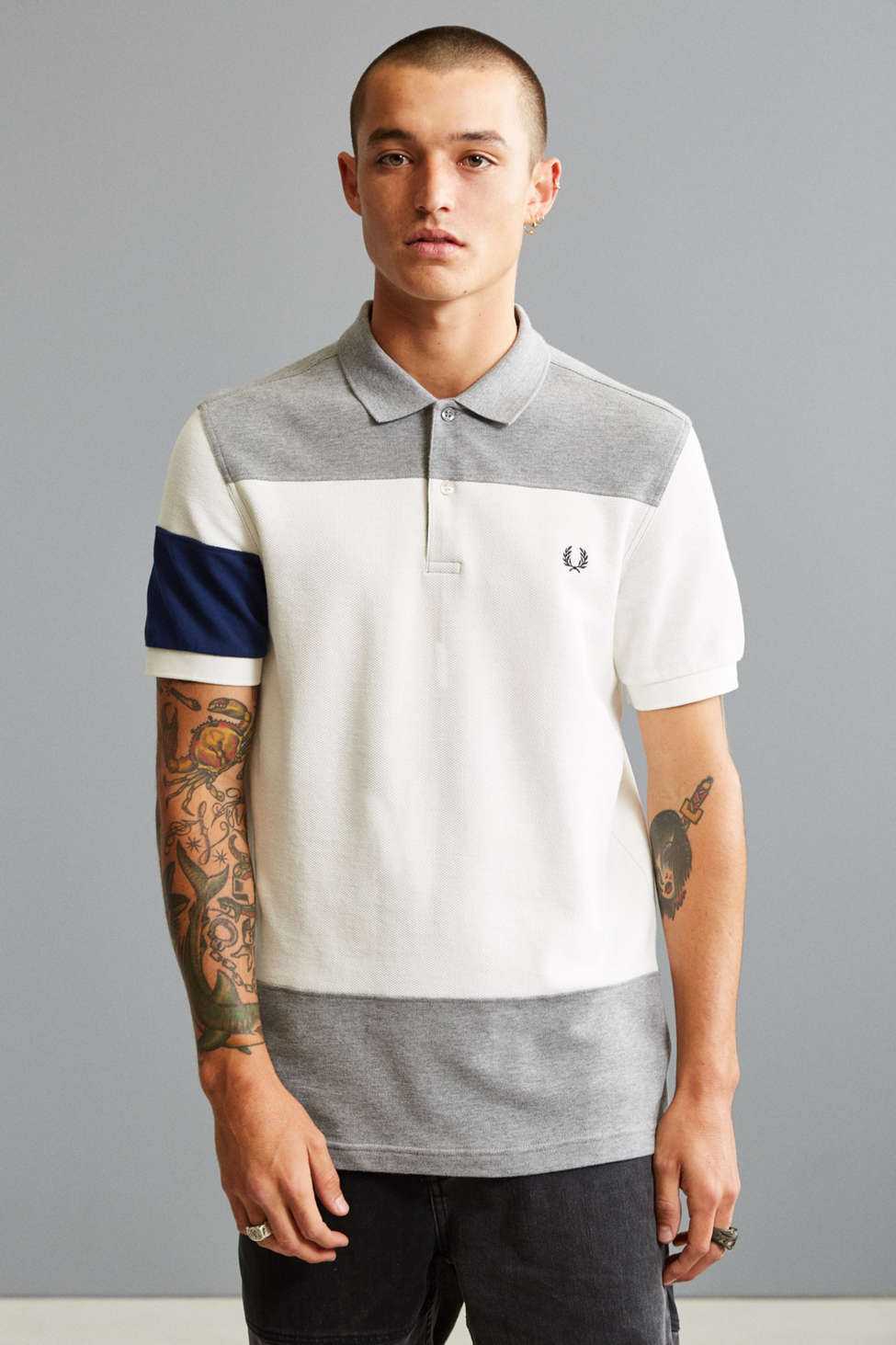 Slide View: 1: Fred Perry Blocked Panel Polo Shirt