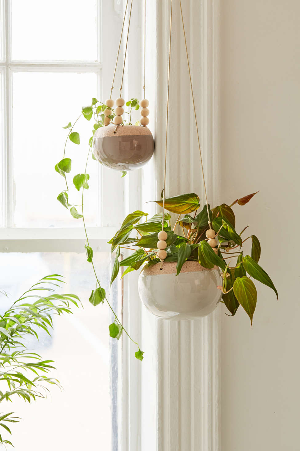 Slide View: 2: Stevie Wood Bead Hanging Planter