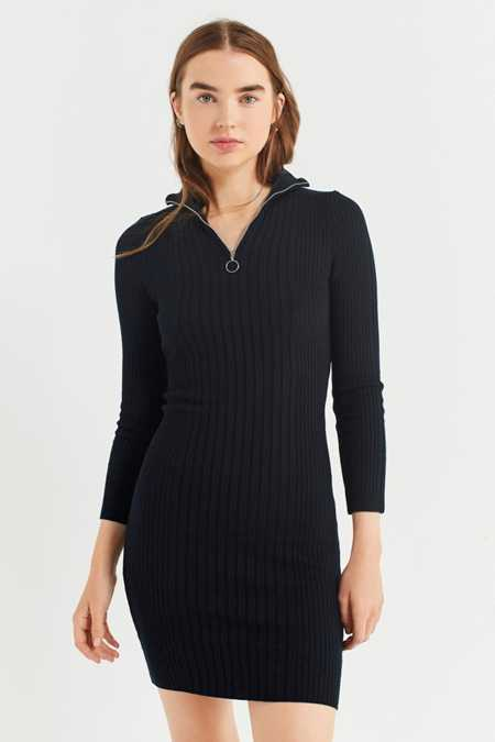 UO Carmen Zip-Up Sweater Mini Dress