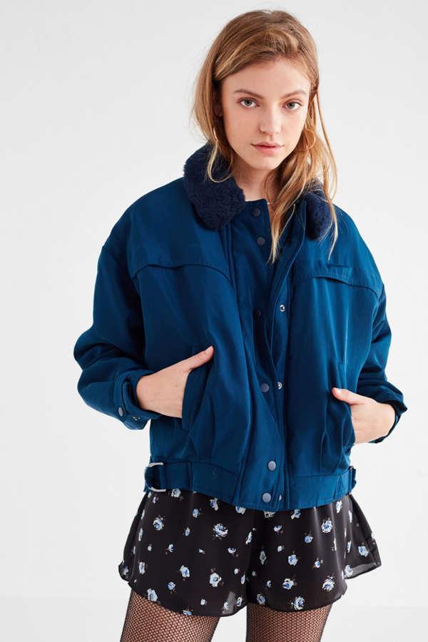 UO Eleanor Faux-Fur Collar Flight Jacket | Urban Outfitters