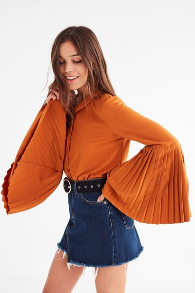 Jovonna London Tosca Pleated Bell-Sleeve Top - Mustard XS at Urban Outfitters