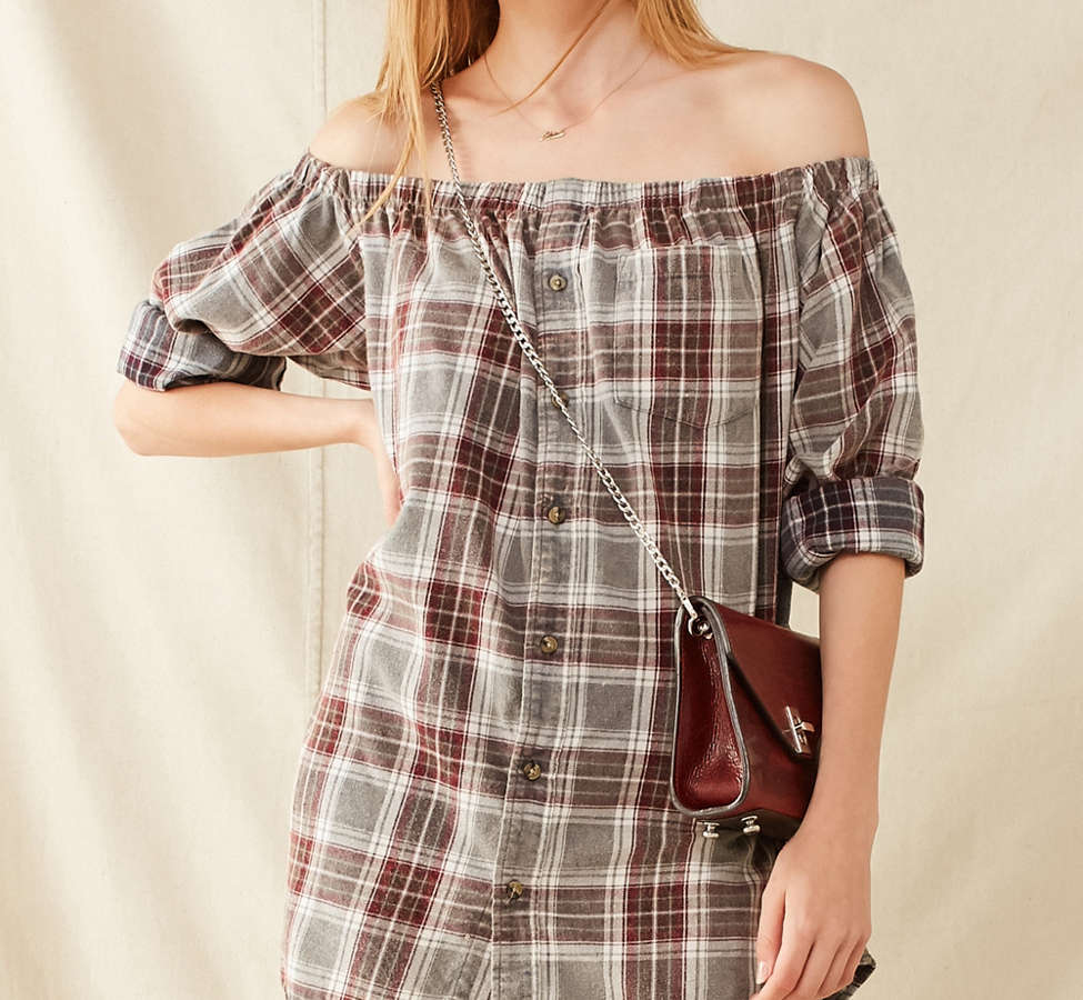 Slide View: 1: Urban Renewal Remade Off-The-Shoulder Washed Flannel Dress