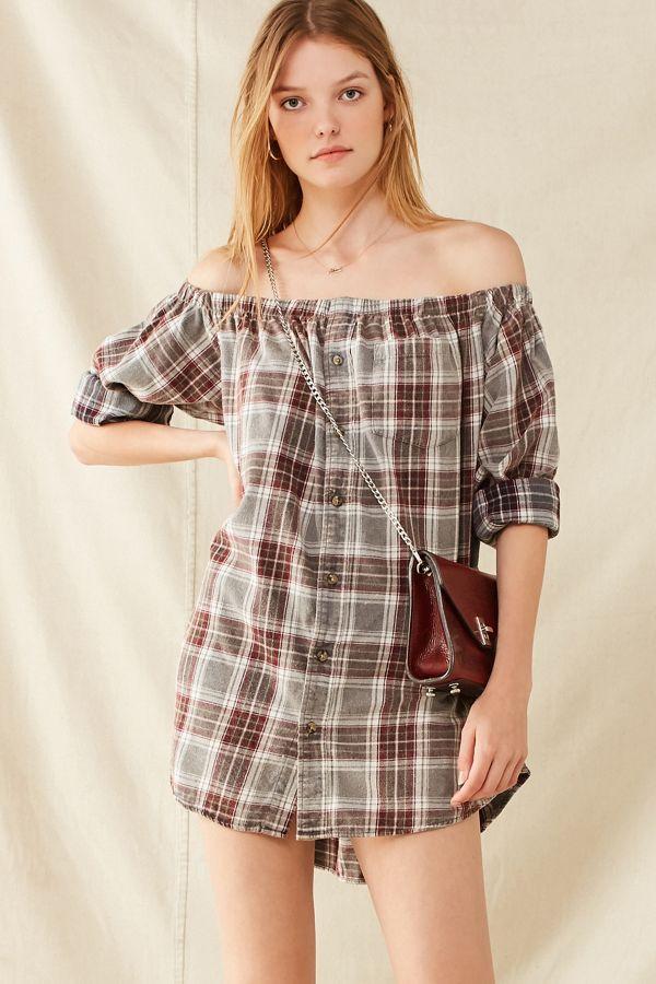 Urban Renewal Remade Off-The-Shoulder Washed Flannel Dress | Urban ...