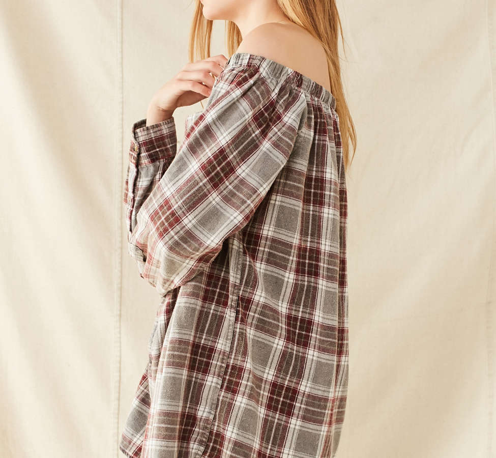 Slide View: 4: Urban Renewal Remade Off-The-Shoulder Washed Flannel Dress