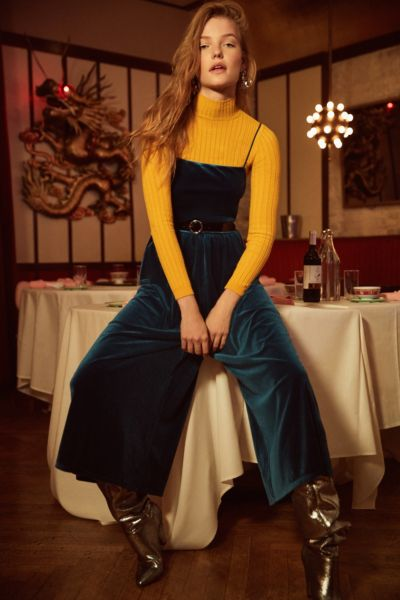 UO Emmabella Velvet Straight-Neck Jumpsuit - Blue XS at Urban Outfitters