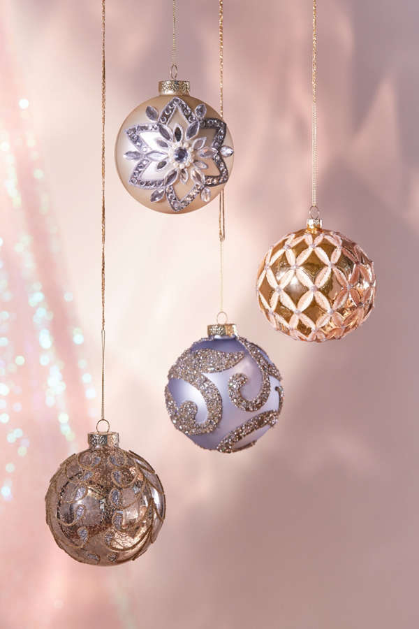Assorted Embellished Ball Christmas Ornament  Set Of 4  Urban