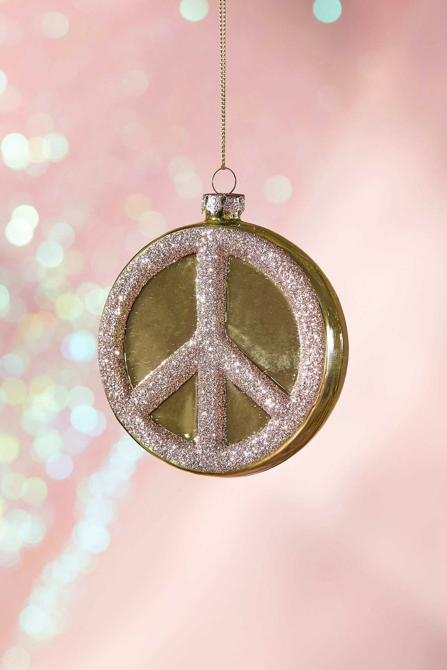 Glitter Peace Sign Christmas Ornament Urban Outfitters