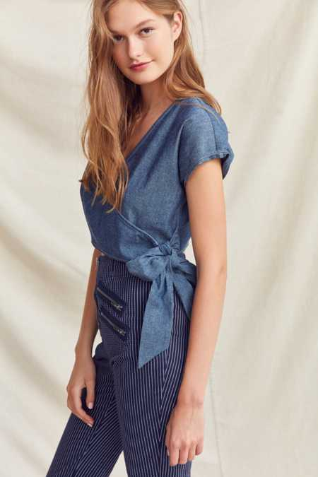 Urban Renewal Remade Cropped Denim Wrap Top