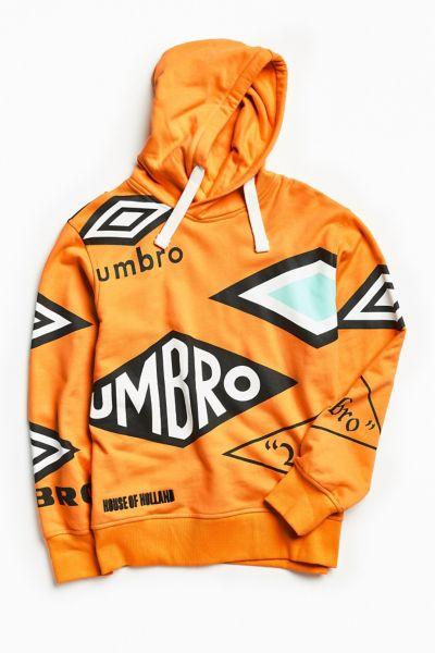 Umbro Multi Logo Hoodie Sweatshirt - Orange S at Urban Outfitters