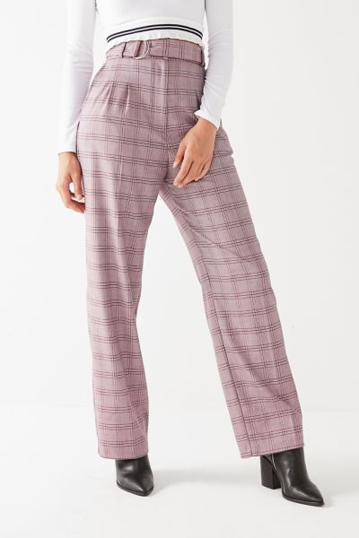 UO High-Rise D-Ring Plaid Pant - Purple Multi XS at Urban Outfitters