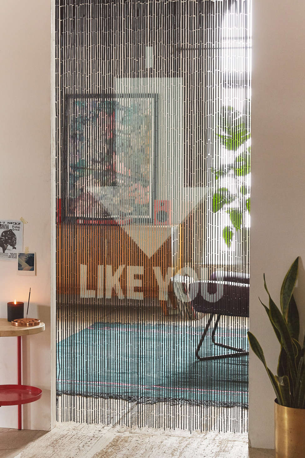 Slide View: 1: I Like You Bamboo Beaded Curtain