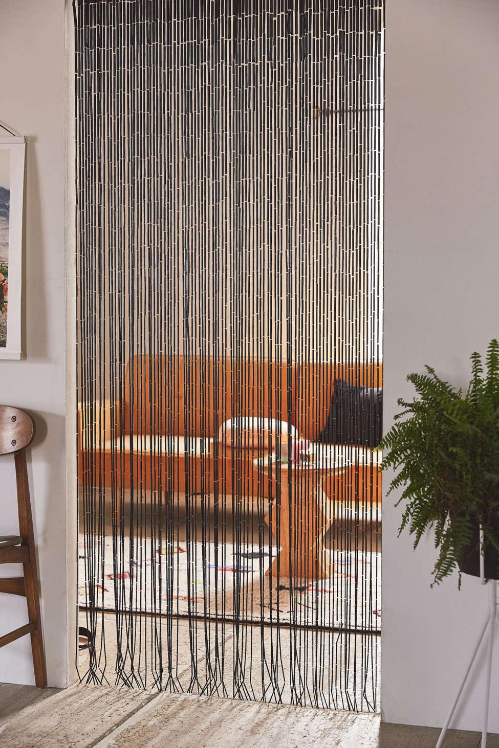 Slide View: 1: Bamboo Beaded Curtain