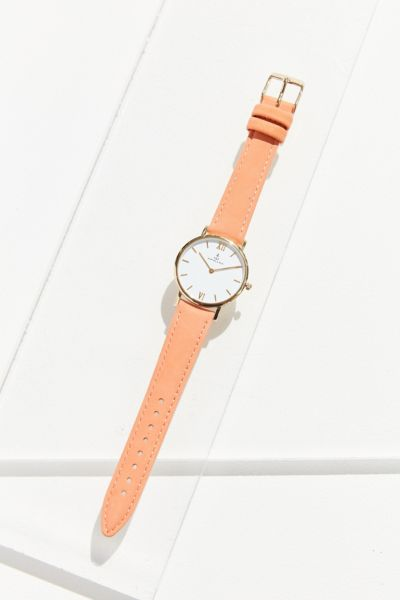 Kapten & Son Joy Velvet Leather Watch - Orange One Size at Urban Outfitters